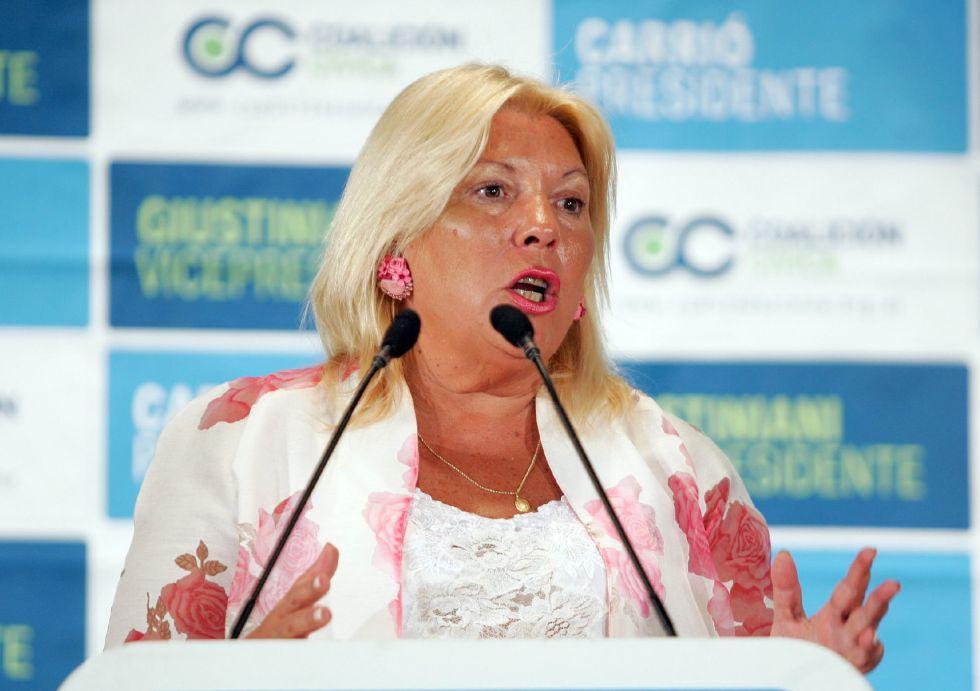 La diputada argentina Elisa Carrió, socia de la coalición gobernante Cambiemos.