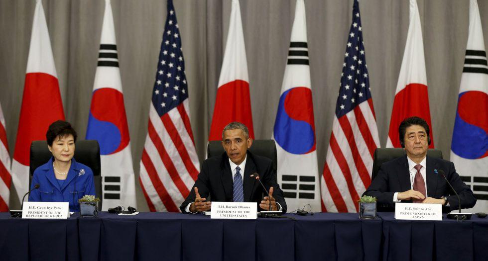 Park, Obama y Abe tras su reunión