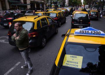 Los taxistas cortan Buenos Aires contra Uber
