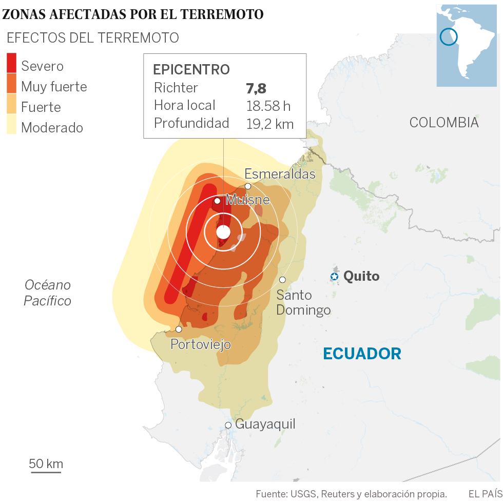 Un terremoto de 7,8 deja más de 70 muertos en la costa de Ecuador
