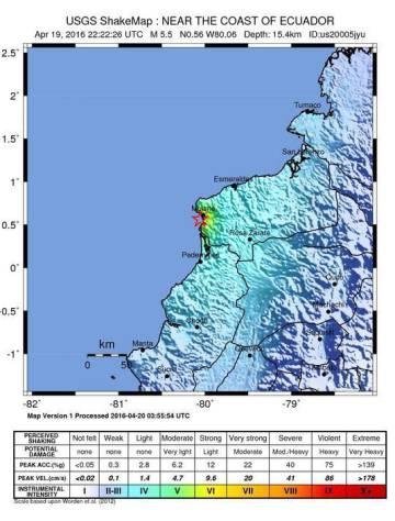 Localización del terremoto según la Agencia Geológica de Estados Unidos.