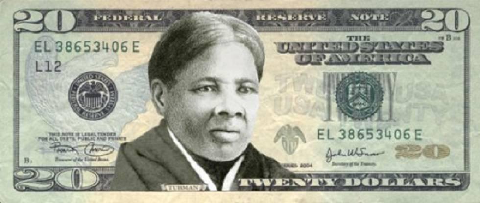 Montaje de un billete de 20 dólares con el rostro de Harriet Tubman, realizado por la campaña Women on 20s.