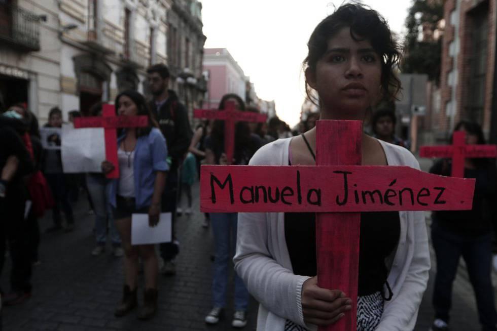 Una manifestación en Puebla contra la violencia machista.