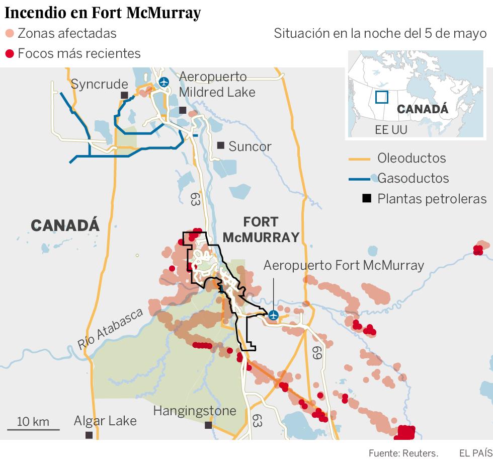 El incendio desatado en Canadá podría duplicar su extensión este sábado