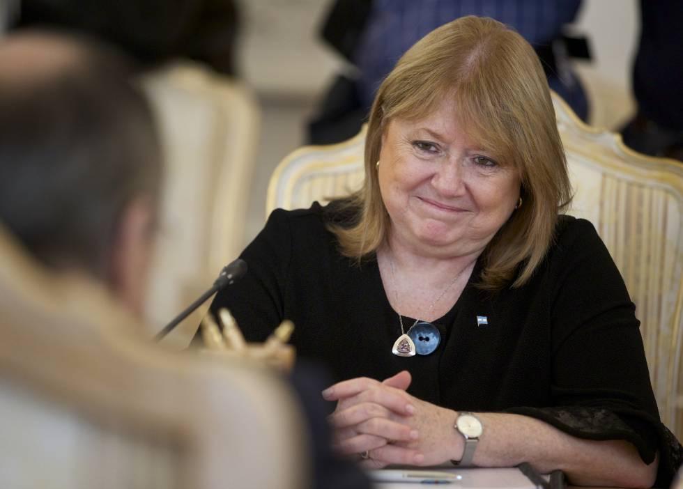 Susana Malcorra, durante una reunión con su homólogo ruso.