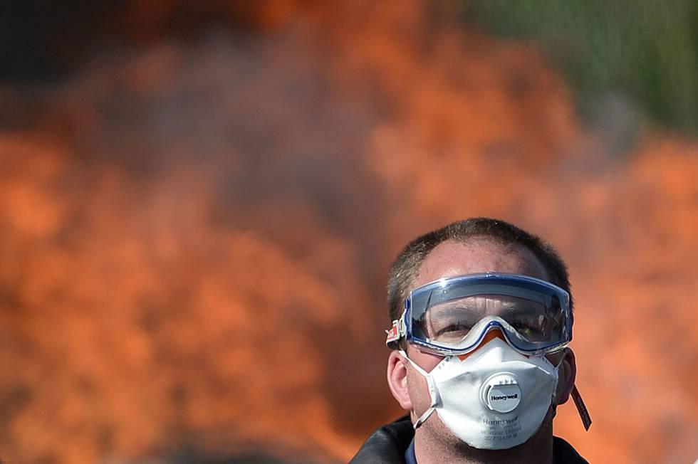 Protestas en una refinería francesa.
