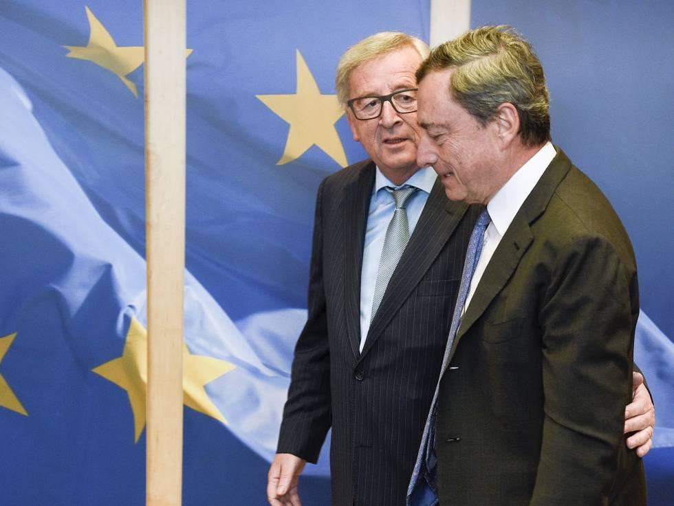 Juncker y Draghi este lunes en Bruselas.