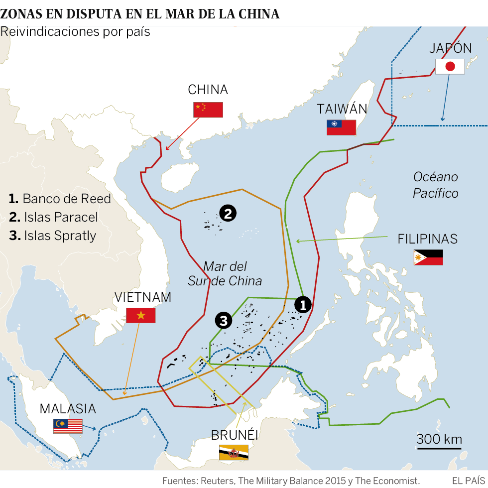 Mapa de las islas en disputa en el Mar de China