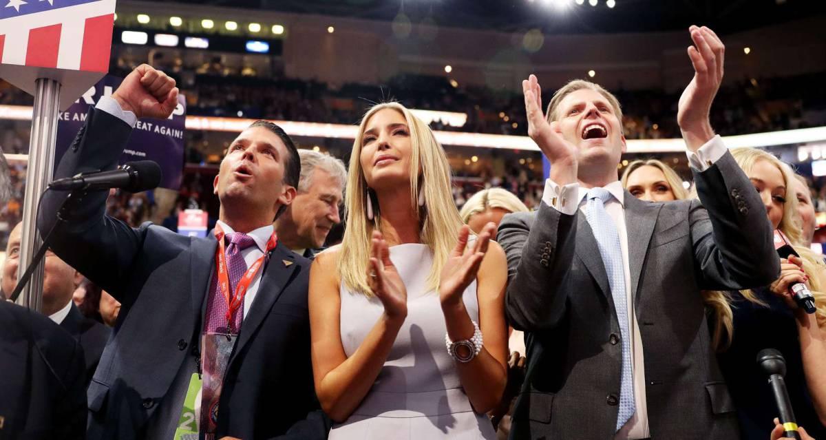 Tres de los hijos de Donald Trump celebran la nominación de su padre.