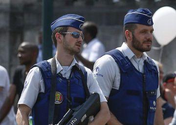 Agentes desplegados en las calles de Bruselas, este 21 de julio.