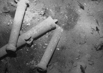 Imágenes de restos de cañones del galeón 'San José' en el fondo del mar Caribe.