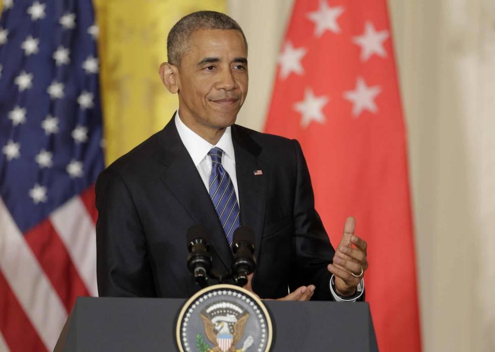 El presidente Barack Obama en rueda de prensa en la Casa Blanca