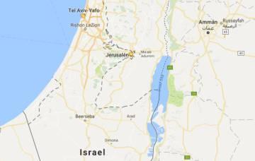 Captura de imagen de Israel y los territorios palestinos. Google no muestra ninguna denominación para Cisjordania ni para Gaza.