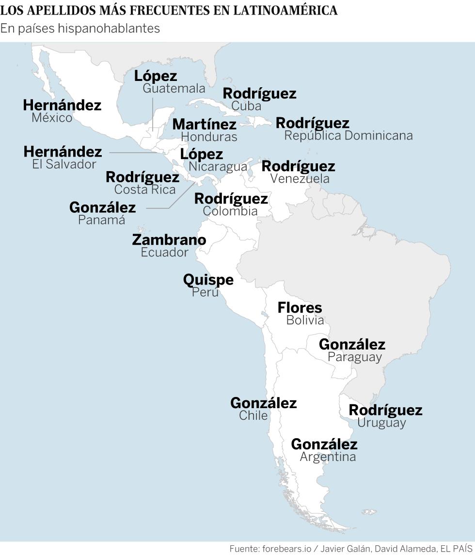 Mapa apellidos Latinoamérica