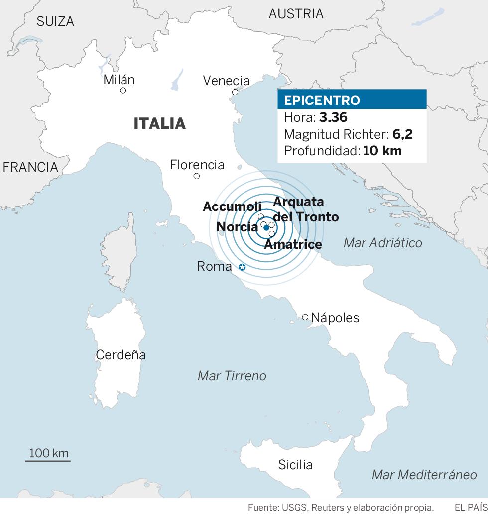 Un terremoto en Italia de 6,2 causa al menos 37 muertos y destrozos en el centro del país