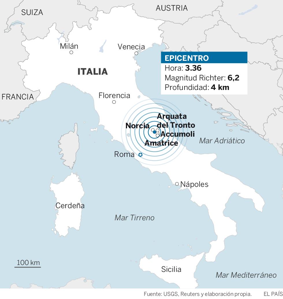 Un terremoto en Italia de 6,2 causa al menos 38 muertos y destrozos en el centro del país