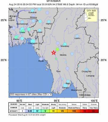 Un terremoto en Myanmar de 6,8 se siente en Bangkok y Bangladés