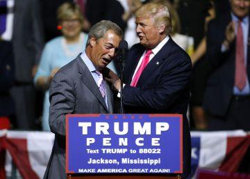 Farage y Trump, en el mitin de este miércoles en Misisipi