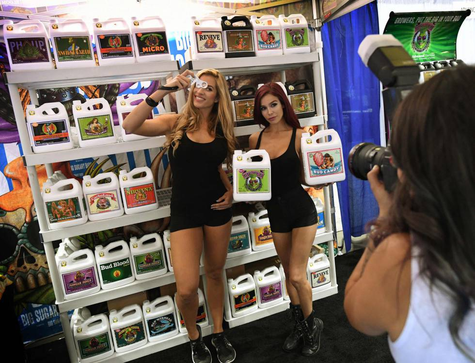Quiosque de fertilizantes feitos com maconha no Congresso Mundial da Cannabis, em Los Angeles.