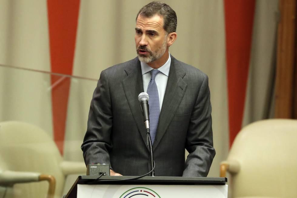 El Rey durante su discurso en la cumbre sobre crisis de los refugiados en la ONU.