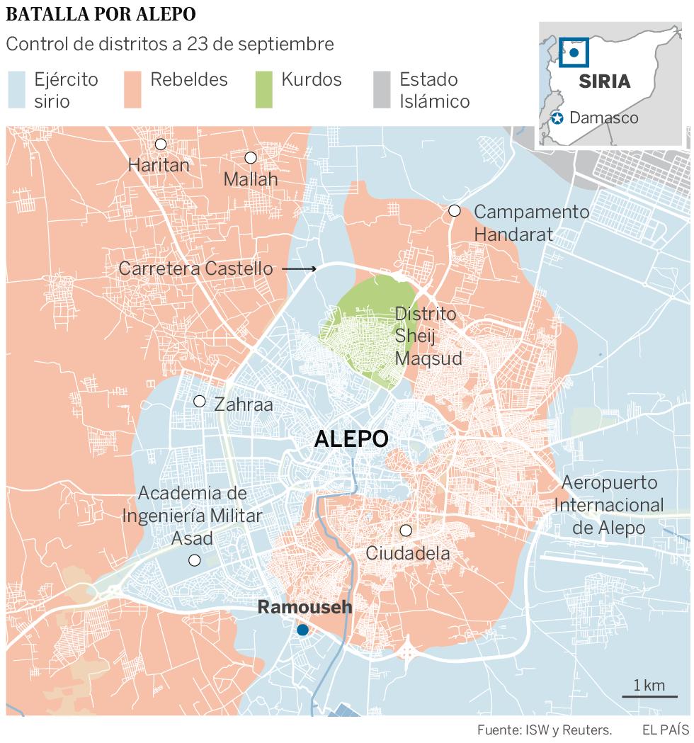 Mapa de las facciones militares en Alepo