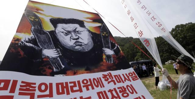 Manifestantes contra el líder norcoreano tras la última prueba nuclear.