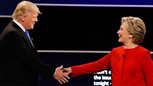 Los candidatos, Trump y Clinton, en el debate.