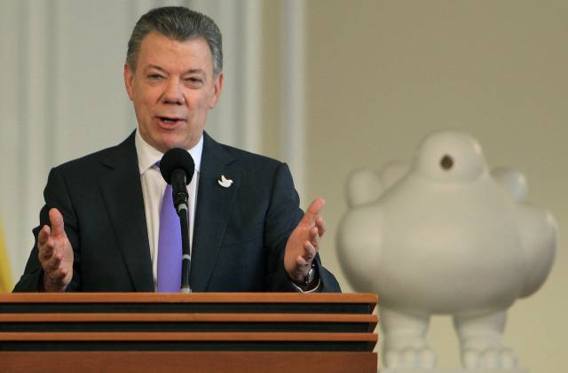 El presidente de Colombia Juan Manuel Santos en la Casa de Nariño, residencia presidencial.