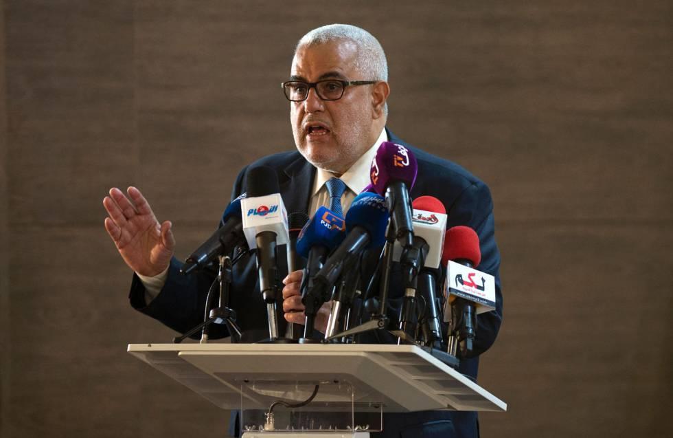 El presidente de Marruecos y secretario general del Partido Justicia y Desarrollo (PJD), durante una conferencia de prensa celebra el 22 de octubre en Salé.rn
