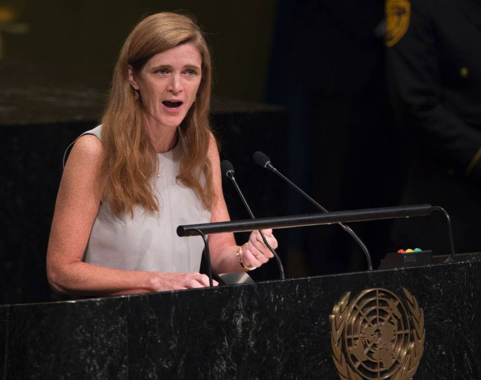 A embaixadora dos Estados Unidos na ONU, Samantha Power.
