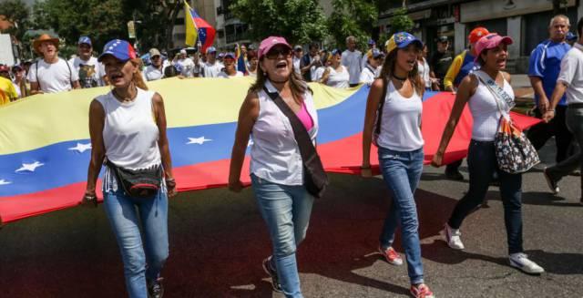 Marcha para exigir el referéndum revocatorio contra Maduro, este miércoles en Caracas.