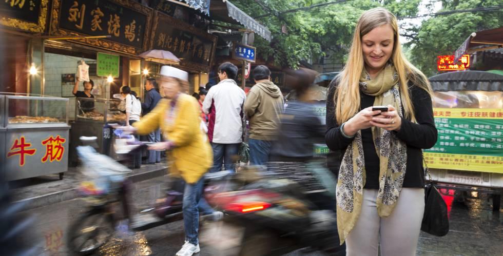 Una extranjera en la ciudad china de Xian.