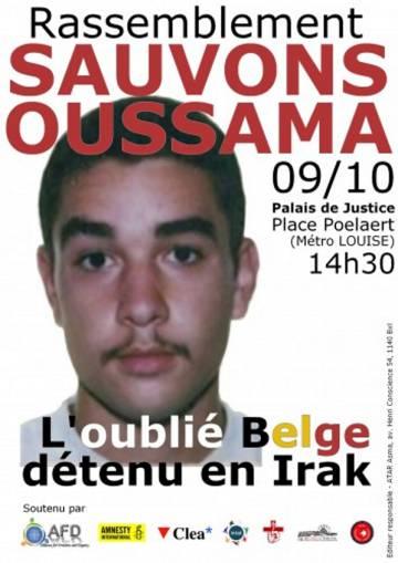 Cartel de la manifestación para la liberación de Atar celebrada en Bruselas el 9 de octubre de 2010.