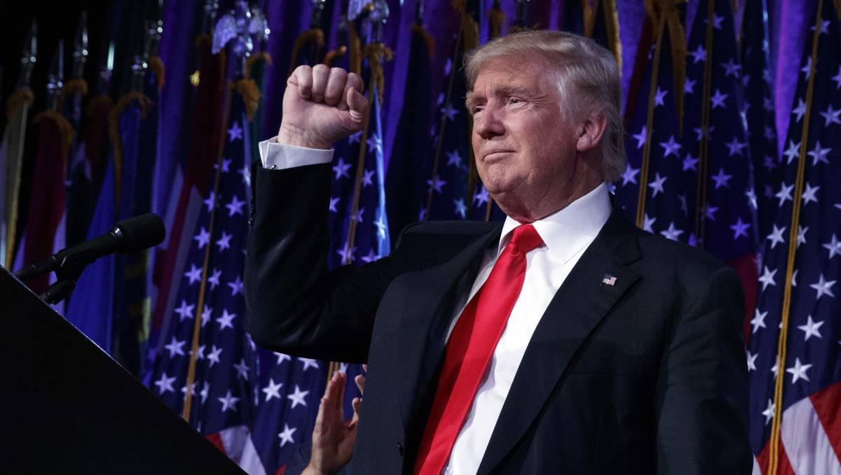 Donald Trump celebra su victoria, en Nueva York.