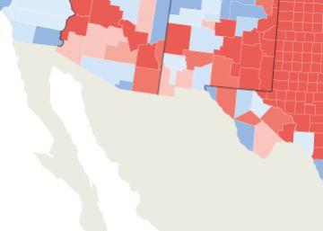 Las ciudades y la mayoría de los condados de la frontera votaron por Clinton