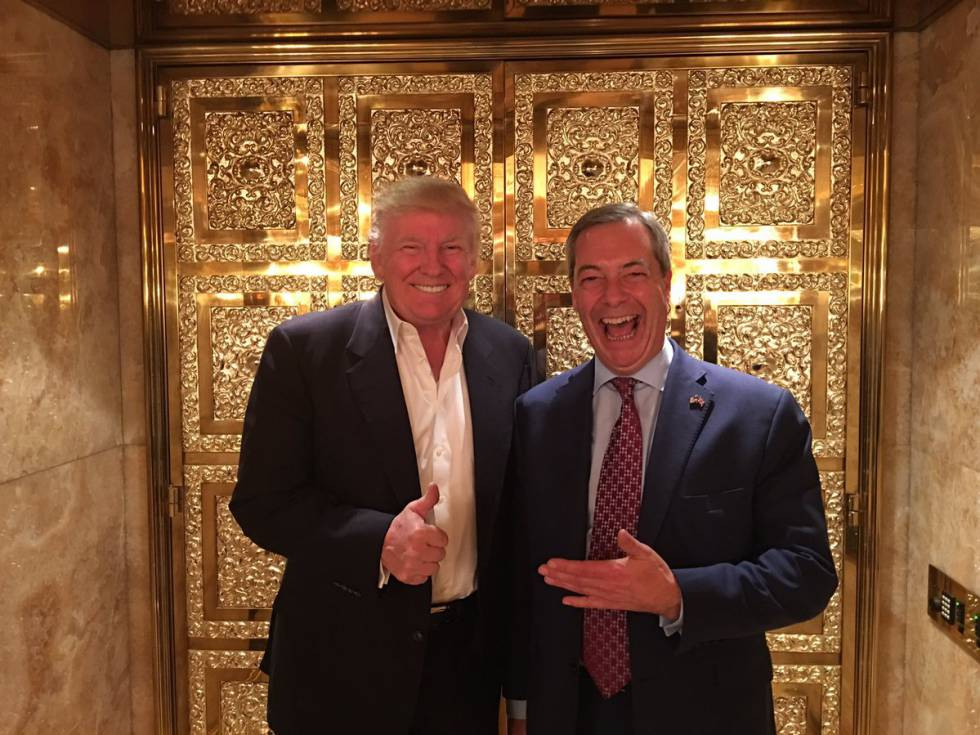 Trump y Farage, en el ascensor de la Trump Tower neoyorquina.
