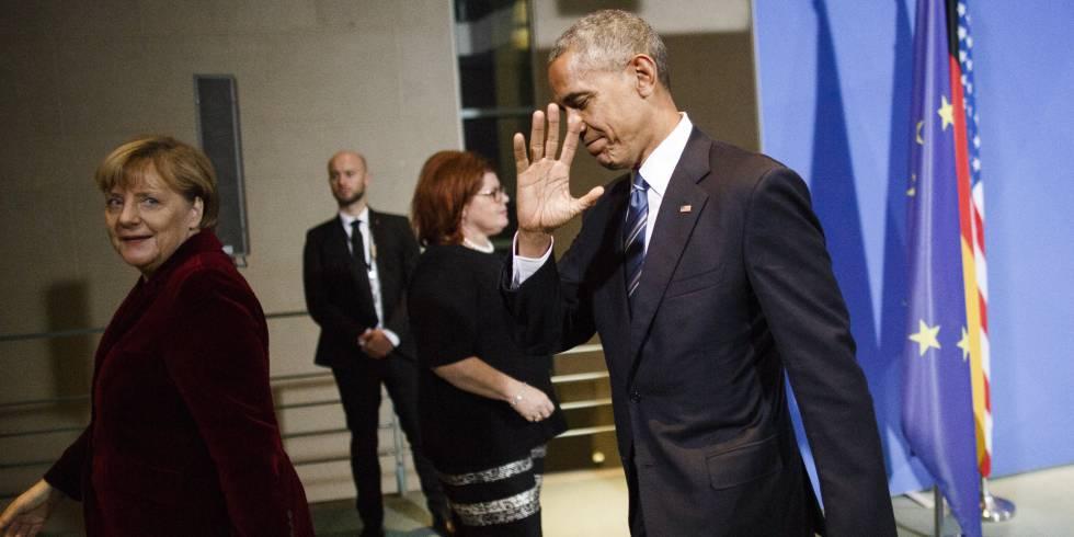 La canciller Angela Merkel y el presidente Barack Obama, tras la rueda de prensa del jueves en Berlín.