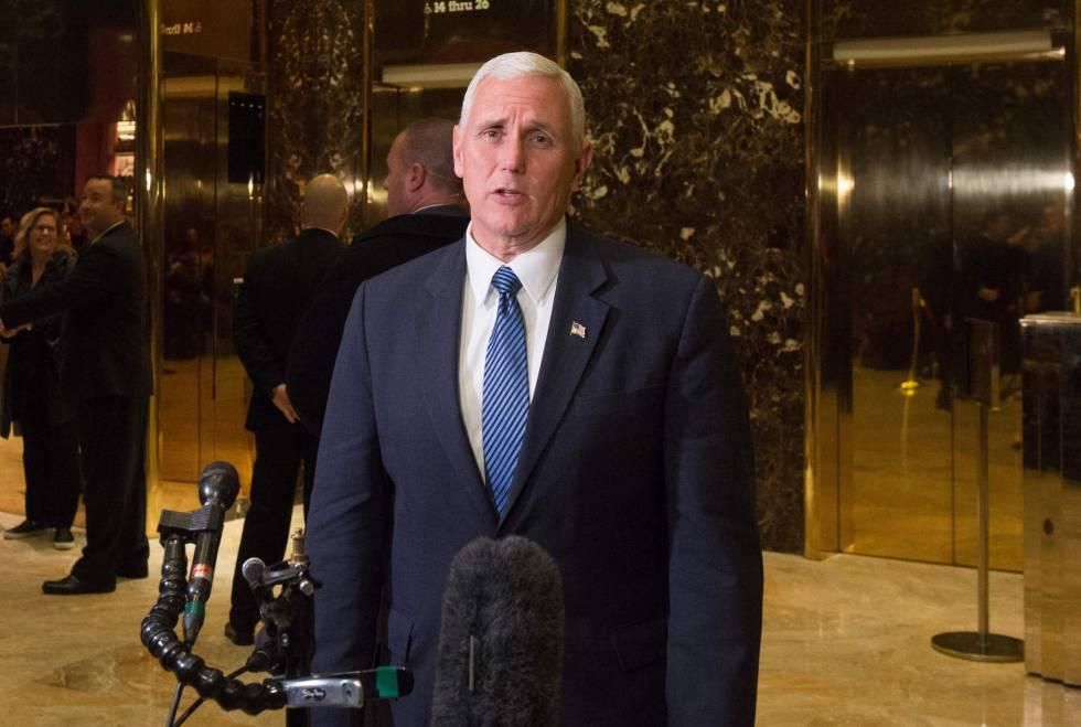 El vicepresidente electo, Mike Pence, este martes en Nueva York.