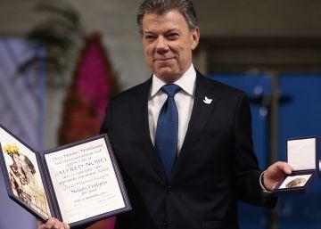 """Santos, tras recibir el Nobel de la Paz: """"Hay una guerra menos en el mundo"""