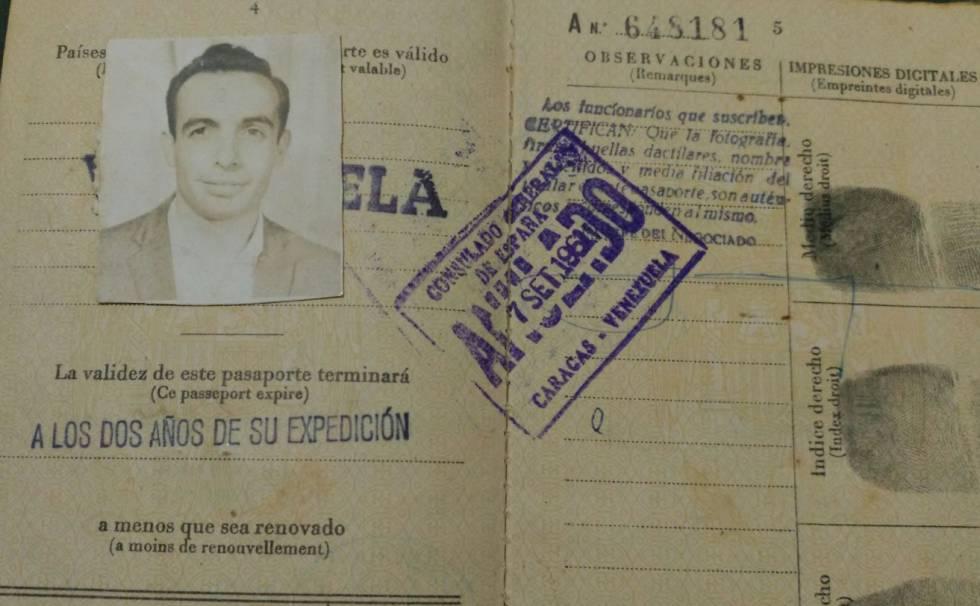 El pasaporte español de Ernesto cuando migró a Venezuela, a los 23 años, a bordo del barco 'Lucania'.