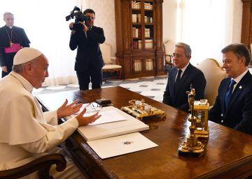 El Pontífice recibe a Santos y Uribe en el Vaticano