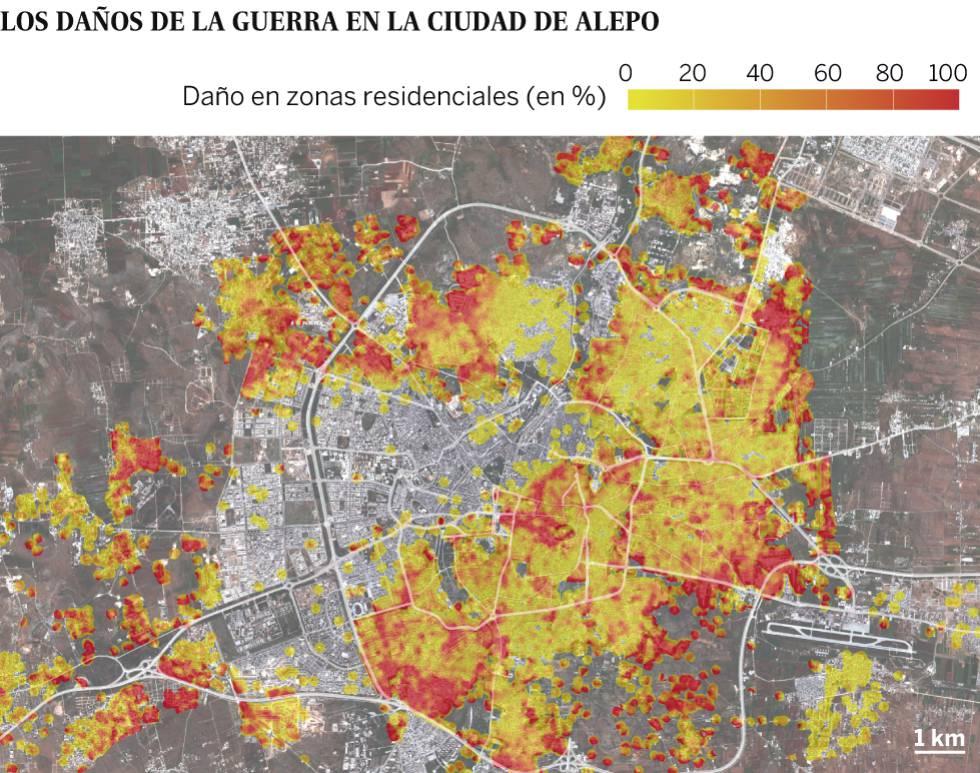 La destrucción de Alepo, en un mapa de la ONU