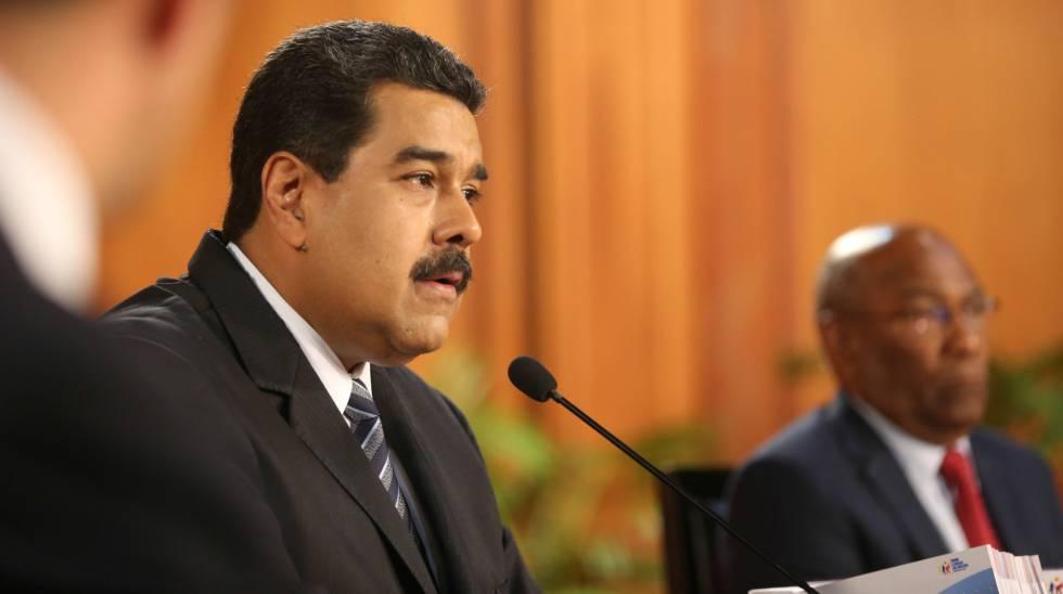 Nicolas Maduro em um encontro com empresários em Caracas.