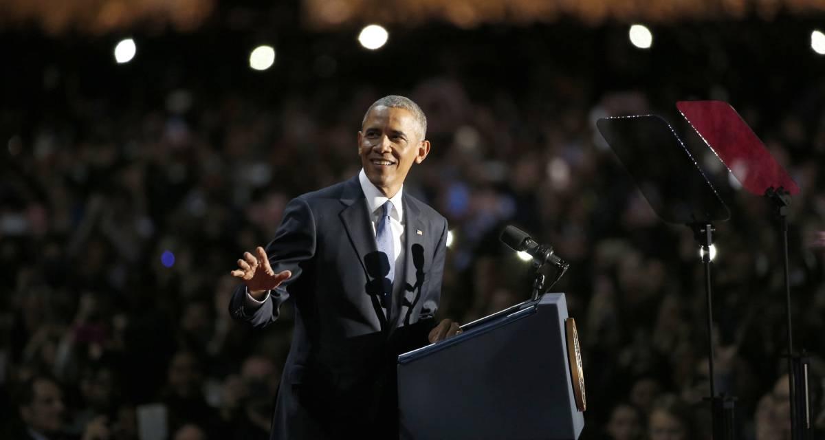El presidente Obama en un instante de su discurso en Chicago.