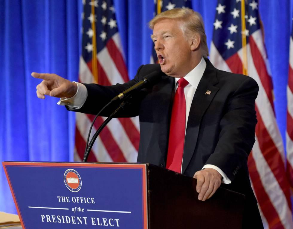 Donald Trump, em sua primeira coletiva de imprensa em seis meses em Nova York na quarta-feira 11 de janeiro de 2017.