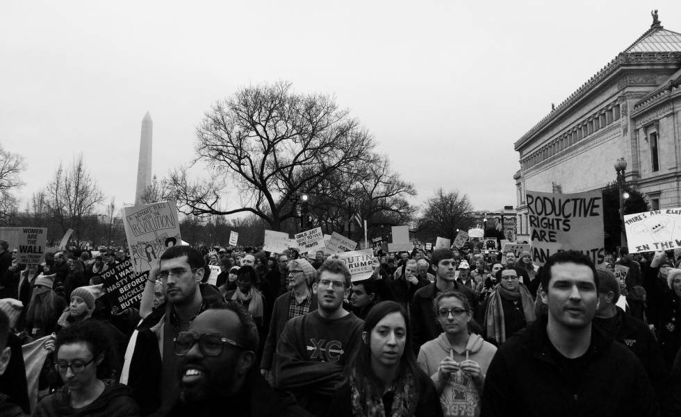 Manifestación antitrump en Washington.