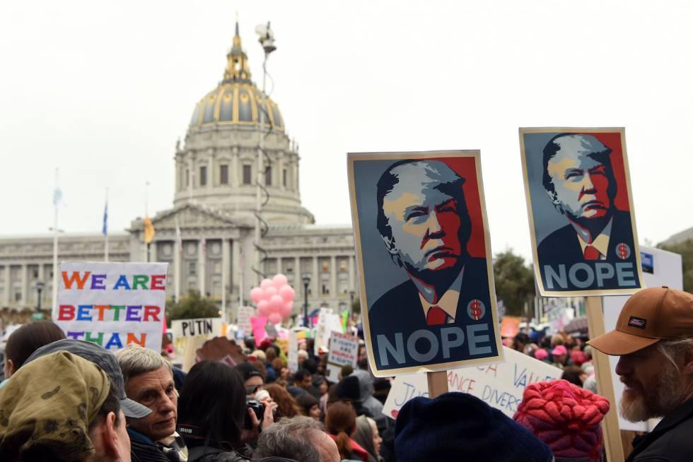 Miles de personas protestan el sábado contra Trump en Washington.