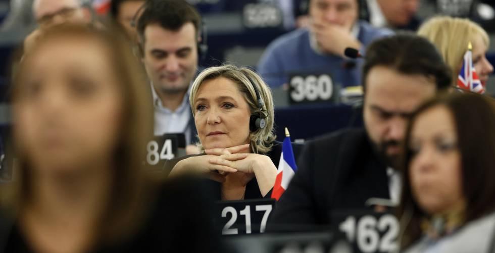 Marine Le Pen en el Parlamento Europeo hace dos semanas.