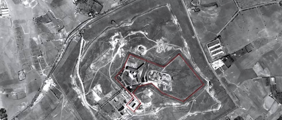 Vista aérea de la prisión siria de Saydnaya, cerca de Damasco.