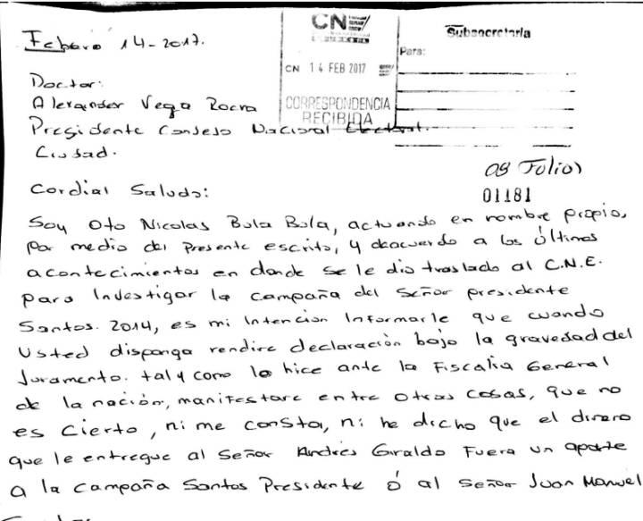 Un fragmento de la carta en la que Otto Bula niega haber entregado dinero a la campaña del presidente Santos.